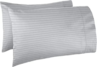 Nestl Bedding Soft Pillow Case Set of 2 – Double Brushed Microfiber Hypoallergenic Pillow Covers – 1800 Series Damask Dobby Stripe Pillow Cases, King - Silver