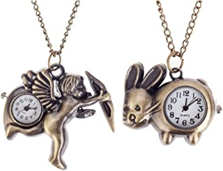 Set of 2 Outstanding Bronze Colored Quartz Pocket / Necklaces Watches With Cupid Angel And Bunny Shaped Decorative Casings On Long Chains By VAGA