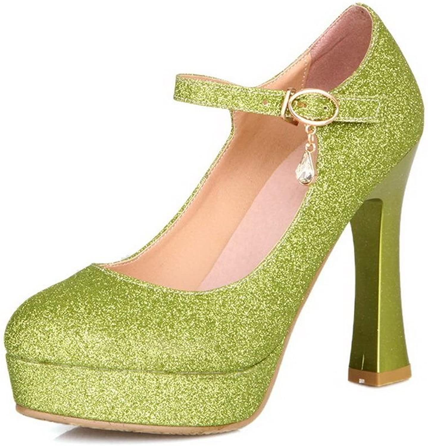 WeenFashion Women's Frosted High Heels Round Closed Toe Solid Buckle Pumps-shoes