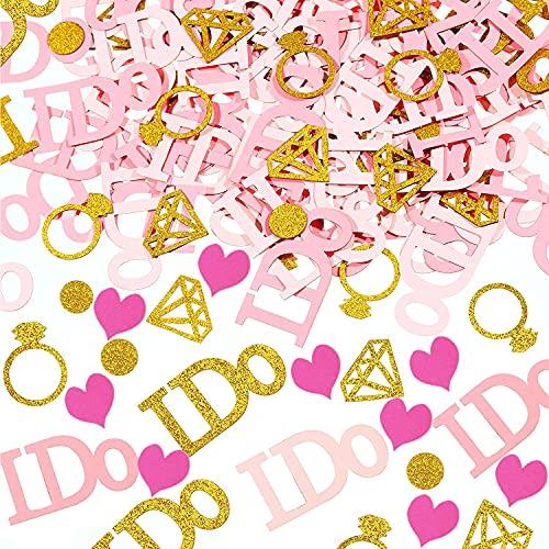 390 piezas de confeti de mesa de boda, decoración de fiesta, anillo de diamantes de oro rosa brillante, labios y corazones para mesa de compromiso, decoración de fiesta de novia, decoración de ducha