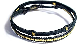 Wakami Beaded Bracelets For Women | Handmade, Double Wrap, Jewelry For Women | Silky Black Bracelet, Waterproof, Fair Trad...