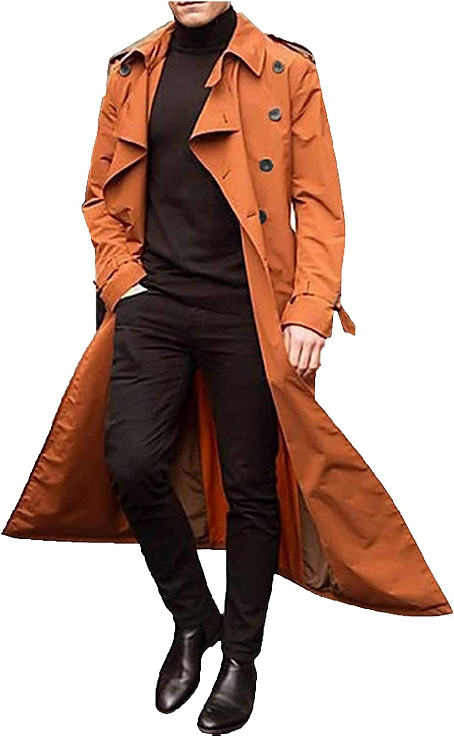 GDJGTA Autumn and Winter Long Trench Coat for Men Double Breasted Coats Belt Loose Jacket Mid-Length Lightweight Peacoat