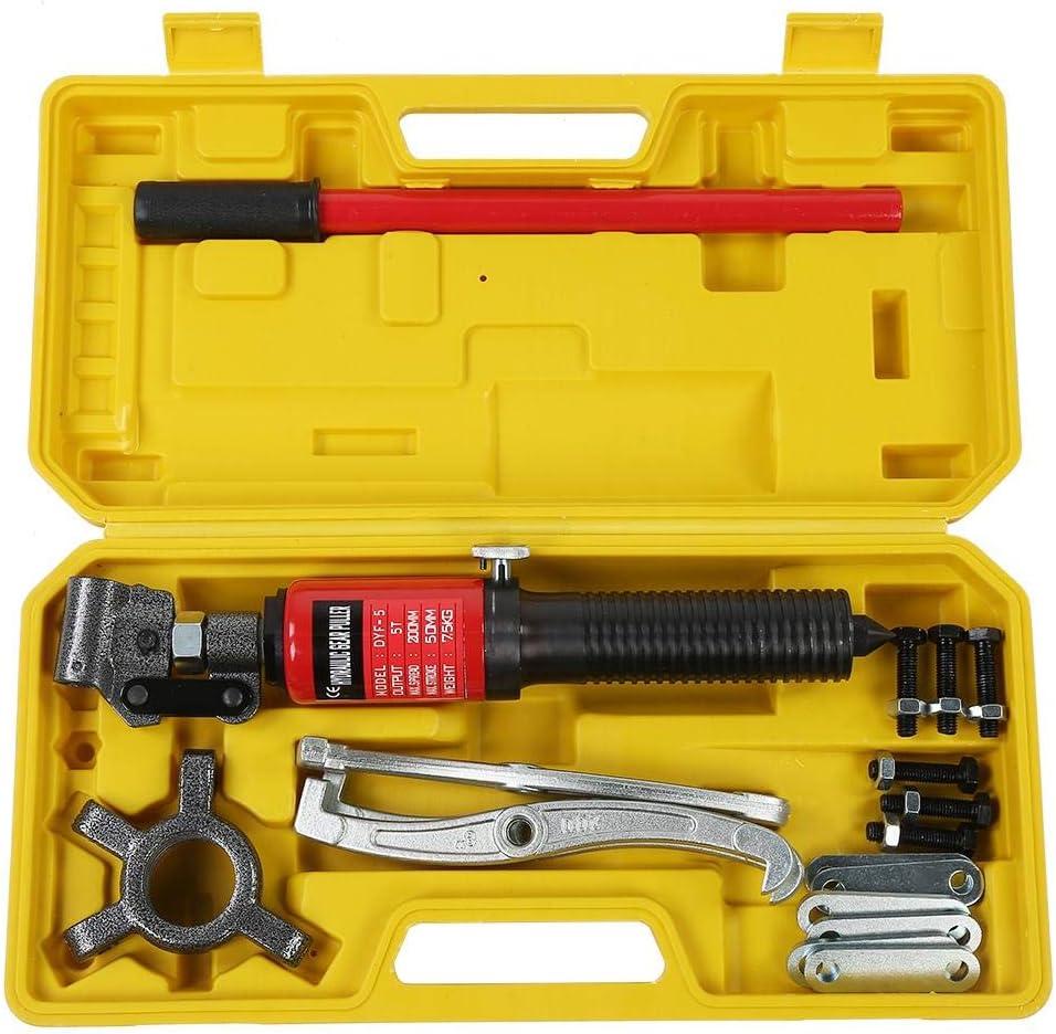 Leku Extractor hidráulico de 5 T, kit de extracción hidráulica con 3 mandíbulas para bujes, bridas, engranajes, rodamientos, caja amarilla
