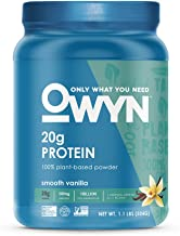 OWYN Only What You Need 100 Percent Vegan Plant-Based Protein Powder, Smooth Vanilla, Dairy-Free, Gluten-Free, Soy-Free, Allergy Friendly, Vegetarian, 1.08 Pound Tub, 1 Count