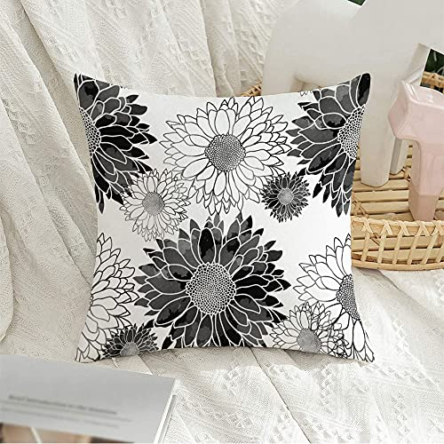 Decorative Square Throw Pillow Cover Silver Beautiful Floral Black Aquarelle Watercolor Blossom Brush Distressed Drawn Nature Flower Soft Velvet Cushion Cover 16 x 16 Inch for Couch Bedroom Car