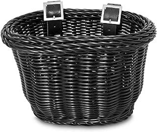 Colorbasket 01624 Front Handle Bar Kids Bike Basket, All Weather, Water Resistant, Adjustable Leather Straps, Food-Contact Safe, Black