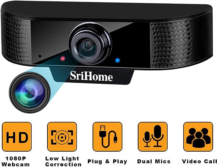 ENONEO Cámara Web HD 1080p PC Webcam PC con Microfono y Enfoque Automático Camara Webcam Streaming USB 2.0/3.0 Enchufe & Jugar para Videollamadas Estudios Conferencias Grabación Juegos (Negro)