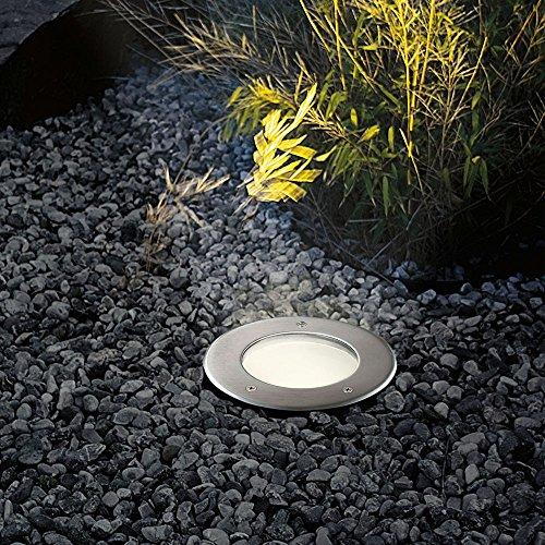 Bodeneinbaustrahler s.LUCE Level hochwertiger Außen-Einbaustrahler rund mit Edelstahlblende und gehärtetem Glas befahrbar bis 2 Tonnen IP67 für Terrasse Garten Einfahrt Flur Wohnraum innen außen