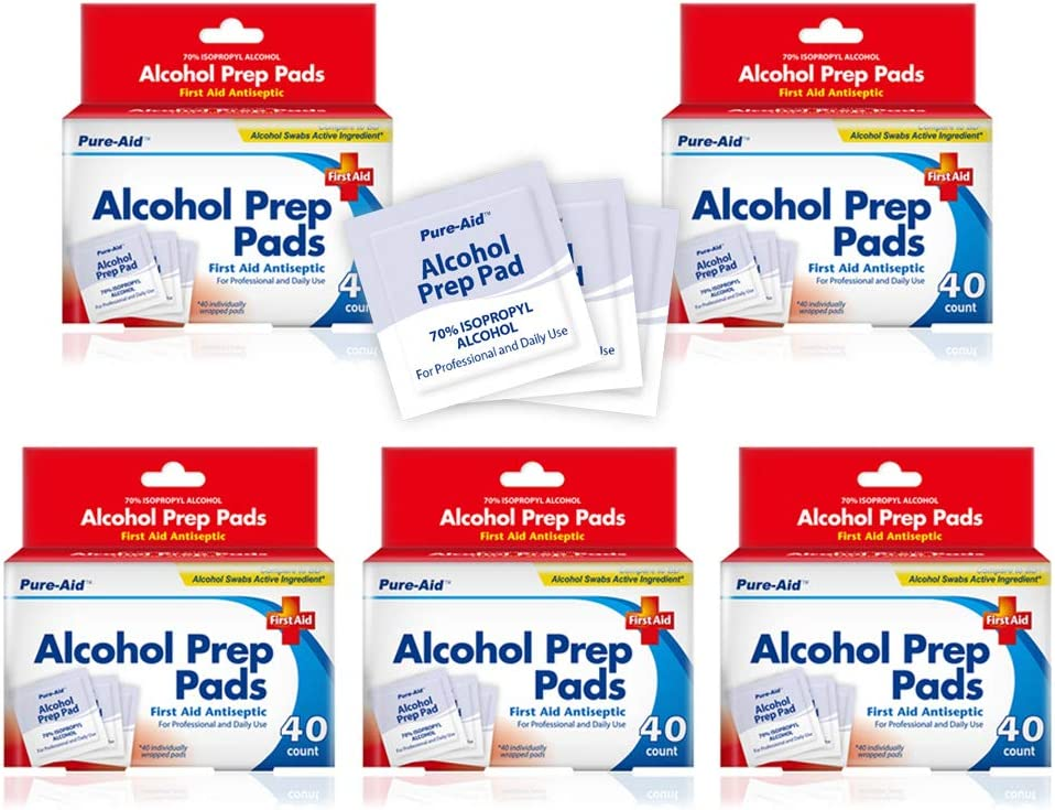Pure-Aid Alcohol Prep Pads-40ct(5pk) - Total 200 Counts - First Aid Antiseptic for Professional and Daily use to Decrease Germs, Remove Residue, 40 Individually Wrapped Alcohol Cleansing Swabs 5 Pack: Health & Personal Care