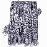 Crochet Braids 18' Senegalese Twist Braids Hair Braiding Hair Synthetic Hair Extensions BlackTBlueTLight Blue Red,#Silver Gray,18inches