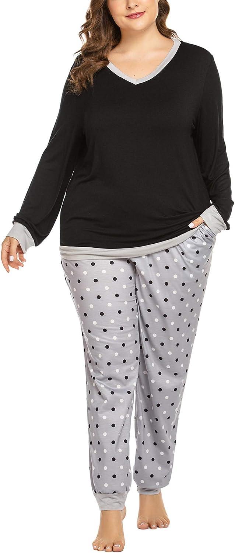 Chigant Women's Plus Size Pajama Set Long Sleeve PJ Sets Polka Pant Sleepwear Set