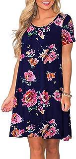 Vestido Mujer Mujeres Verano Manga Corta Floral Bolsillos Impresos Vestido de oscilación Ocasional de Sundress
