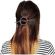 Fashion Women Girls Gold/Silver Plated Metal Round Bar Hair Clips Metal Circle Hairpins Holder Hair Accessories
