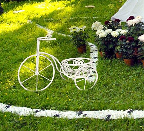 Euronovità Plantas Bicicleta con Puerta jarrón, Hierro Forjado, Crema, Large