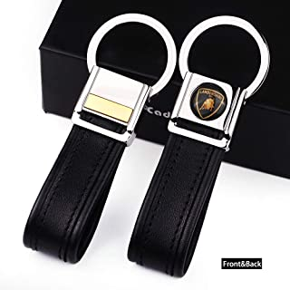 Cadtealir Highlight Stainless Steel Metal tab Lock bucle Inlaid with 18k Golden chip with Full Grain Nappa Leather Strap car Key Chain Lanyard Clips Ring for Lamborghini for Men Woman Accessories