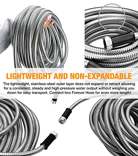 FOREVER STEEL HOSE | 25FT 304 Heavy Duty Stainless Steel Metal Garden Water Hose - Kink Free, Flexible, Expandable, Lightweight | UV Resistant | Stays Cool in Summers, Never Frozen in Winter