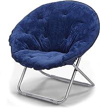 كرسي صحني دائري ناعم ومبطن بالفرو الصناعي على شكل القمر ناعم وواسع في غرفة المعيشة والنوم كرسي دائري (أزرق ملكي)