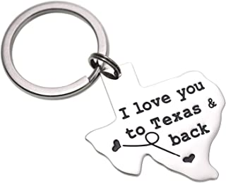 LParkin Texas Keychain Long Distance Relationships Gifts I Love You to Texas and Back Keychain Boyfriend Girlfriend Long D...
