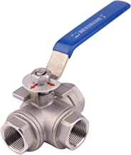 DERNORD 3-Way Ball Valve, L Mounting Pad, Stainless Steel 304 Female Type with Vinyl Locking Handle (3/4 Inch NPT)