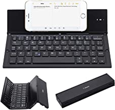 Folding Keyboard, Geyes Portable Ultra-Thin Wireless BT Keyboard Aluminum Alloy with Kickstand Universal fit iPhone X/iPhone 8/7 Plus/Windows/iOS/Mac/Android Tabletphone (Black)