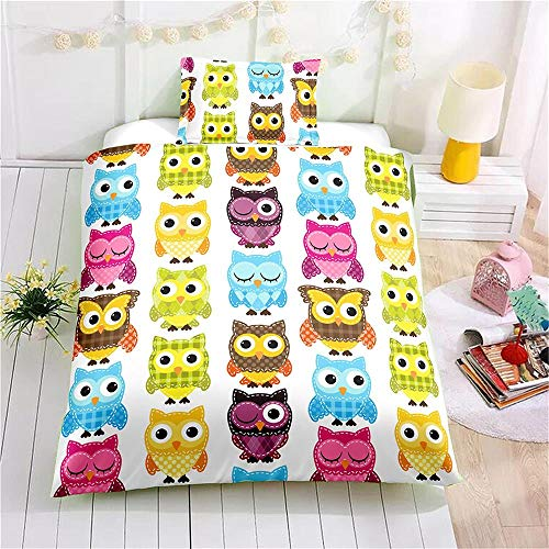 MENGBB Duvet Cover Set 3D Effect Cartoon cute owl animal colorful 135x200cm Total 4 Size, give away pillowcase, Duvet Cover Set 3 pcs with Zipper Closure with 2 Pillow covers 50x75cm Ultra Soft Hypoal