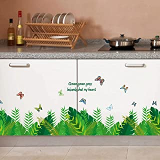 Vinyl Green Leaves Butterfly Baseboard Wall Stickers Home Decor Kids Skirting Living Room Glass Windows Mural Art Decals