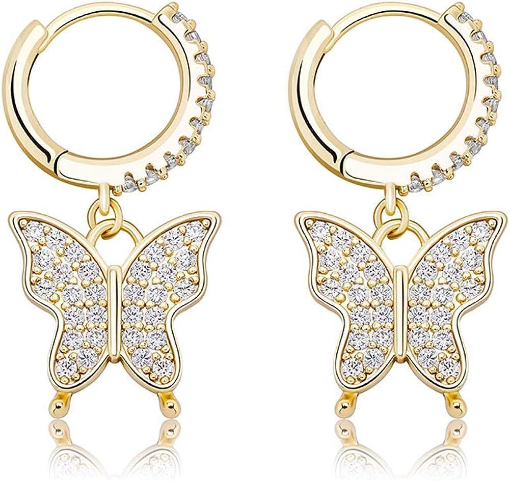 Full Dedication Bling CZ Stones Butterfly Stud Earrings Dedication Gold for Women Men