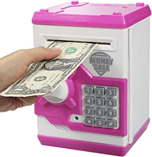 Elemusi Cartoon Electronic Password Mini ATM Piggy Bank Cash Coin Can Auto Scroll Paper Money Saving Box, for Children Kids (Pink)