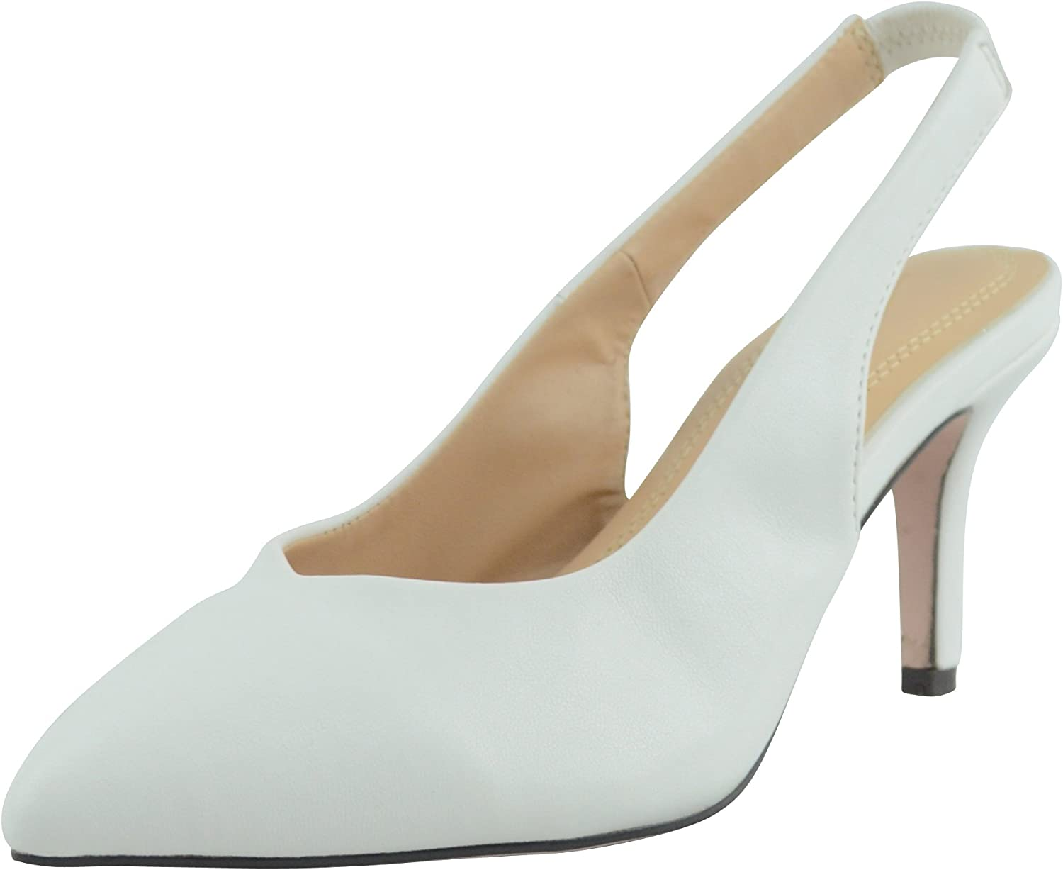 Cambridge Select Women's Closed Pointed Toe Stretch Slingback Mid Heel Pump