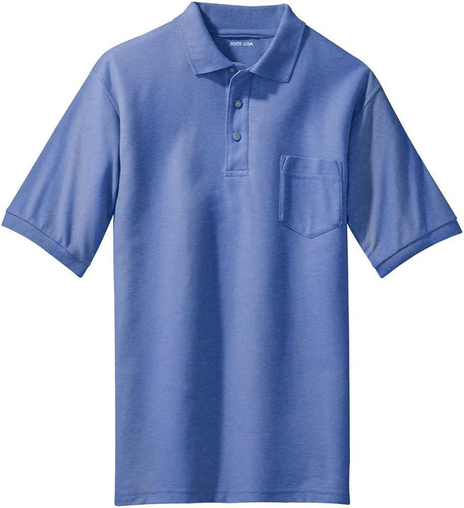 Joe's USA Mens Silk Touch Pocket Polo's in Regular Big & Tall