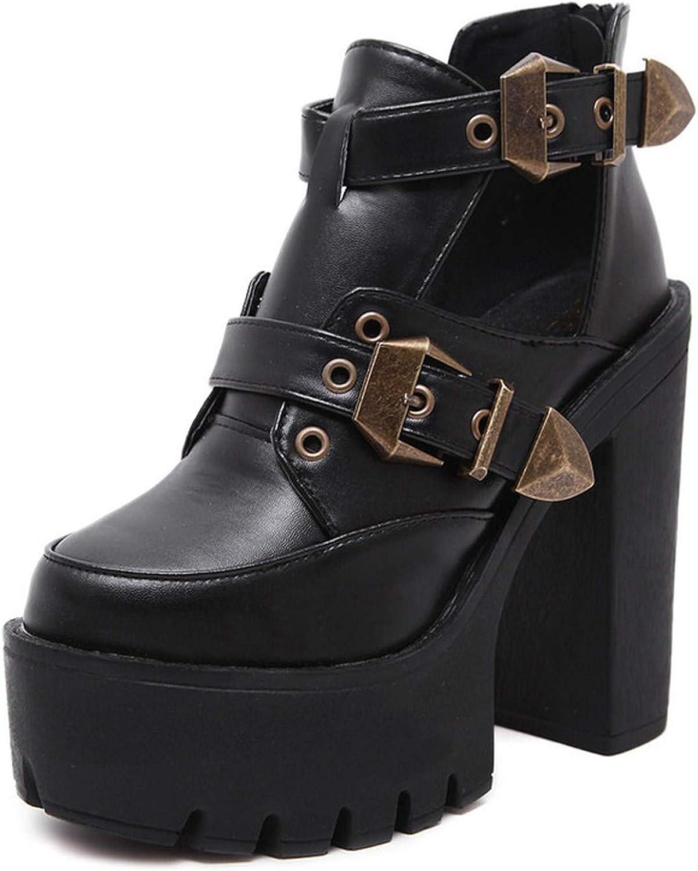 Summer-lavender Spring Autumn Women Pumps Round Toe Platform Thick High Heels Women shoes Cut-Outs Buckle Size 35-40