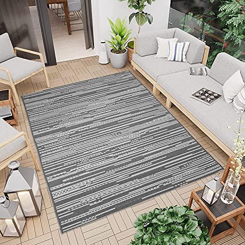 CC Teppich In-Outdoor Wetterfest - Grau Silber Meliert - 120x170cm - Oeko-Tex Standard 100% Polypropylen Allergiker geeignet
