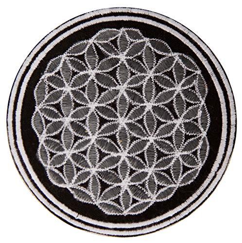 ImZauberwald Blume des Lebens Aufnäher grau schwarz (≈9cm Patch, Heilige Geometrie) flower of life Drunvalo Melchizedek fol-gray