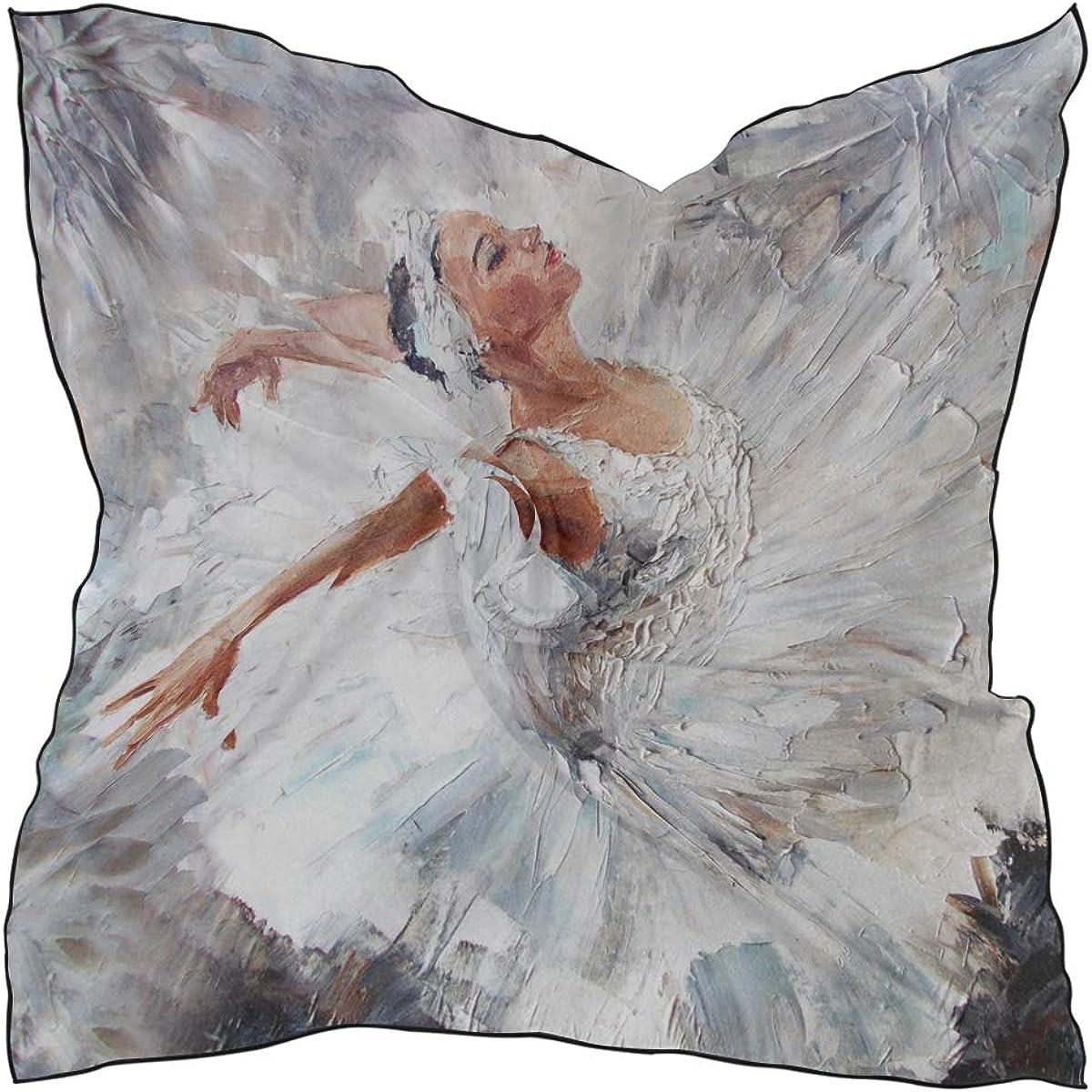 Women's Soft Polyester Silk Square Scarf Ballerina Female Oil Painting Art Dance Elegant Dance Fashion Print Head & Hair Scarf Neckerchief Accessory-23.6x23.6 Inch