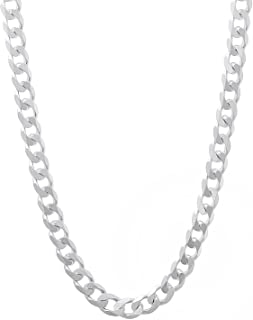 NYC Sterling Men's 5mm Solid Sterling Silver .925 Curb Link Chain Necklace, Made in Italy