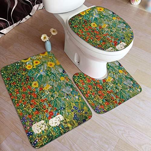 zhang Three-Piece Non-Slip Mat for Bathroom, Indoor Door Mat, Non-Slip Door Mat 24x16 Inch + 20 × 16 Inch+1418inch Cottage Garden with Sunflowers