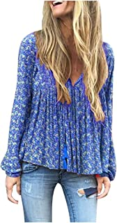 Funnygals - Women's Tops V Neck Floral Print Shirts Swing Ruffle Blouses Tunic Casual Flowy Long Sleeve Size S-XXXXXL