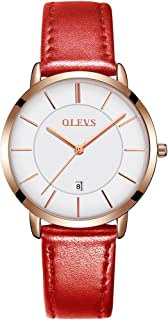 OLEVS Ultra Thin Minimalist Big Face Dress Red Leather Wrist Watches for Women Ladies Waterproof Slim Classic Simple Casual White Large Dial Rose Gold Date Analog Quartz Watch Gifts with Band Clasp