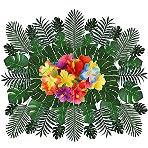 QAQGEAR 72Pcs Artificial Leaves 5 Kinds Artificial Hibiscus Flowers Hawaiian Flowers Artificial Palm Leaves with Stems for Hawaiian Luau Party Home Kitchen Birthday Suppliers Decorations