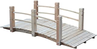 HPW 5FT Natural Wooden Garden Bridge with Rails Fir Wood Construction Solid Arch Frame Pond Creek Yard Backyard Arch Archway Walkway Decorative Décor Patio Outdoor Furniture 400LBS Weight Capacity