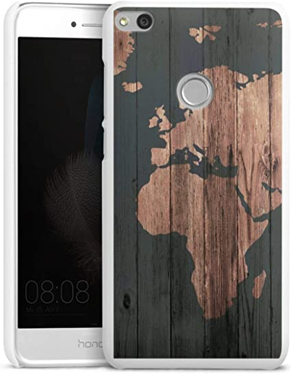 DeinDesign Coque Compatible avec Huawei P8 Lite 2017 Étui Housse Carte géographique Aspect Bois Carte du Monde