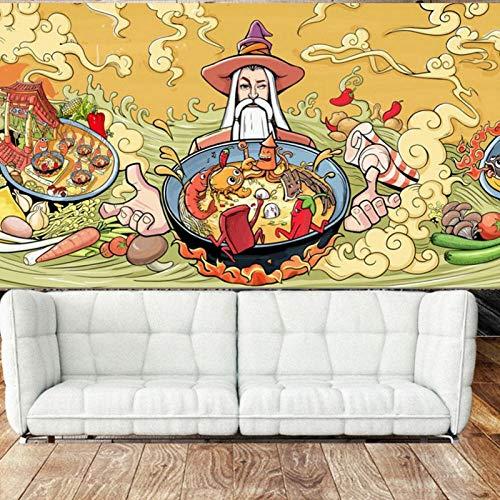 3D Wallpaper muurschilderingen, Geschilderd Type Chinese Culturele Cartoon Voedsel Restaurant Decoratie muurschilderingen 208cm(B) x146cm (H)