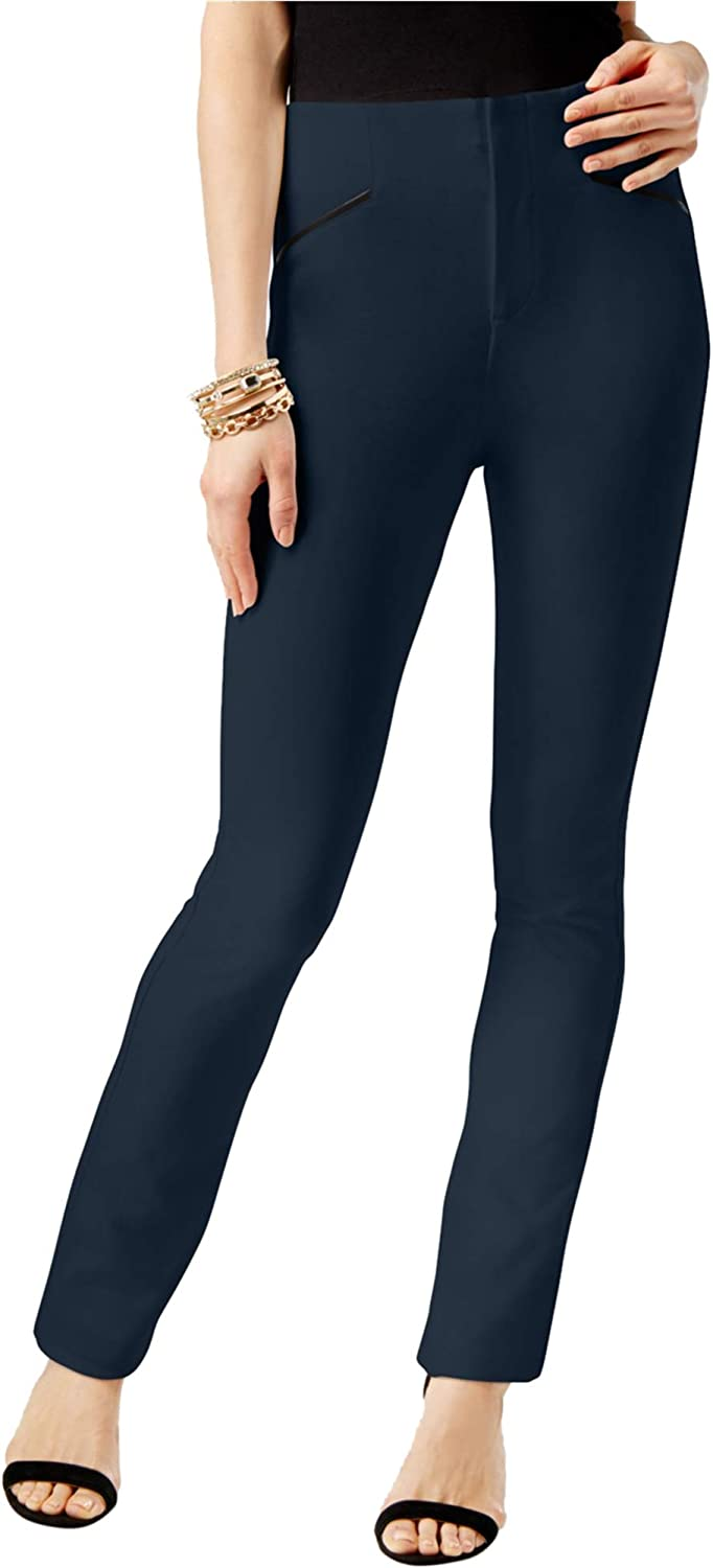 INC Womens Faux Leather Trim Casual Trousers Deeptwilight 14X30