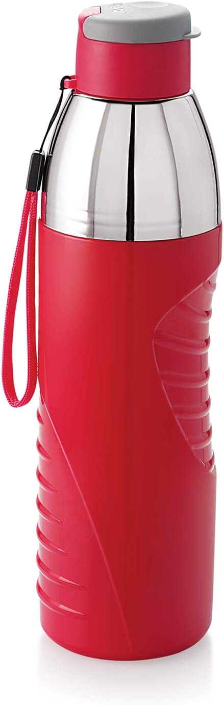 Cello Insulated BPA Free Water Bottle 30 Oz (900 ml) Puro Gliss Easy Carry Ergonomic Water Bottle with Wide Mouth & Easy Flip Top Cap for Office, Gym, Running/Reusable Drinking Container (Red)