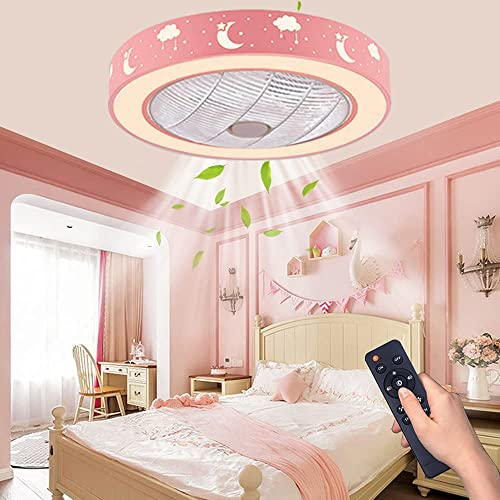 """wholesale LCiWZ Ceiling Fan with Lights,20""""Flush Mount Ceiling sale Fan,72W Enclosed Ceiling Fan with Remote discount Control Dimmable,3 color(3000K-6500K),Low Profile Ceiling Fan,Timing 1/2H 3 Files,Children's room (Pink) sale"""