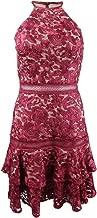 Xscape Womens Lace Floral Print Halter Dress