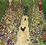 Berkin Arts Gustav Klimt Giclée Leinwand Prints Gemälde Poster Reproduktion(Gartenweg mit Hühnern)