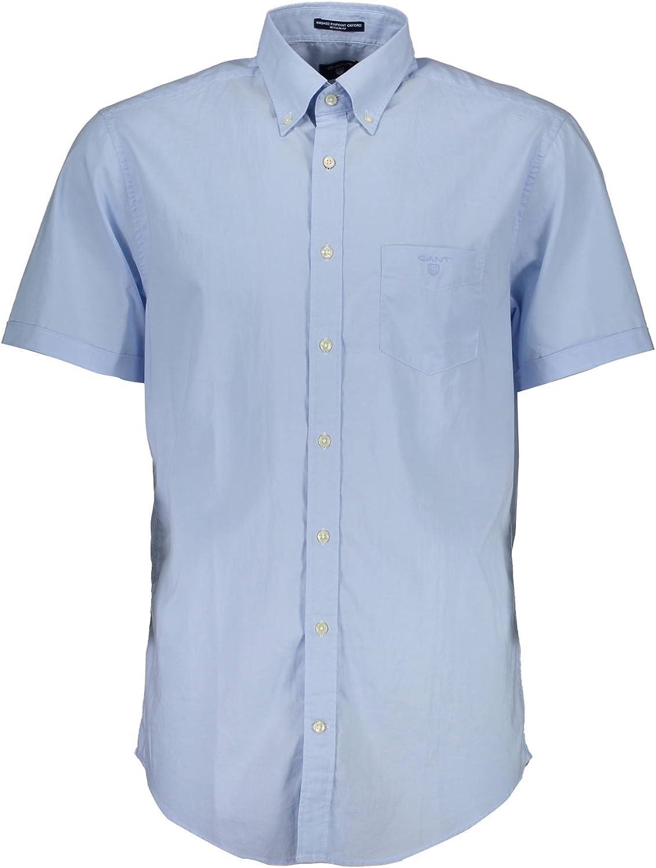 3bb6d59292 Gant 1601.347301 Shirt Shirt Shirt with Short Sleeves Men Light blueee 474  S c84e2c