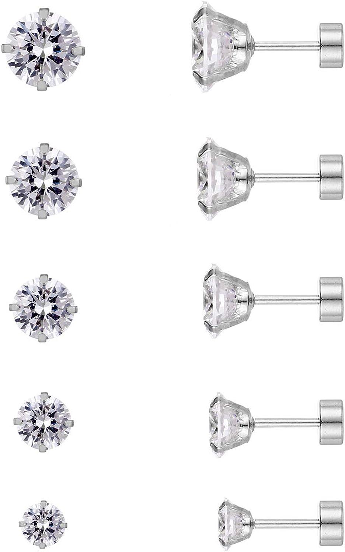 5 Pairs 316L Hypoallergenic Piercing Cubic Zirconia Stud Earring Set Stainless Steel CZ Earrings 3-8mm