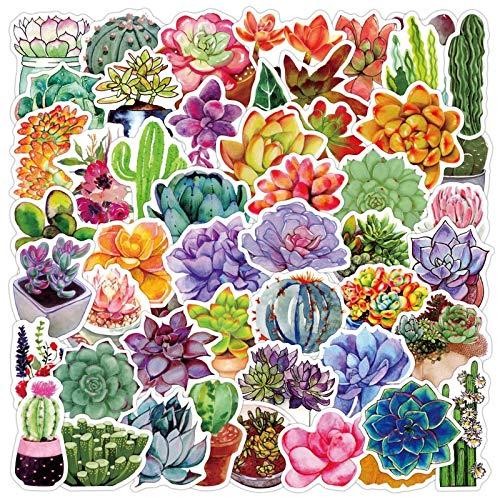 WYDML Mini Pegatina de Cactus Pegatina Decorativa DIY Craft Diario Scrapbook planificador Etiqueta Adhesiva 50 Uds